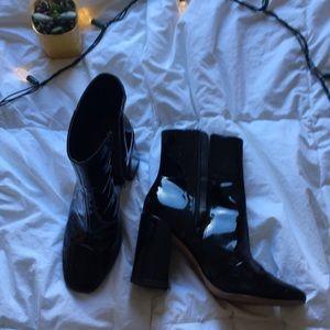 ASOS black vinyl boots